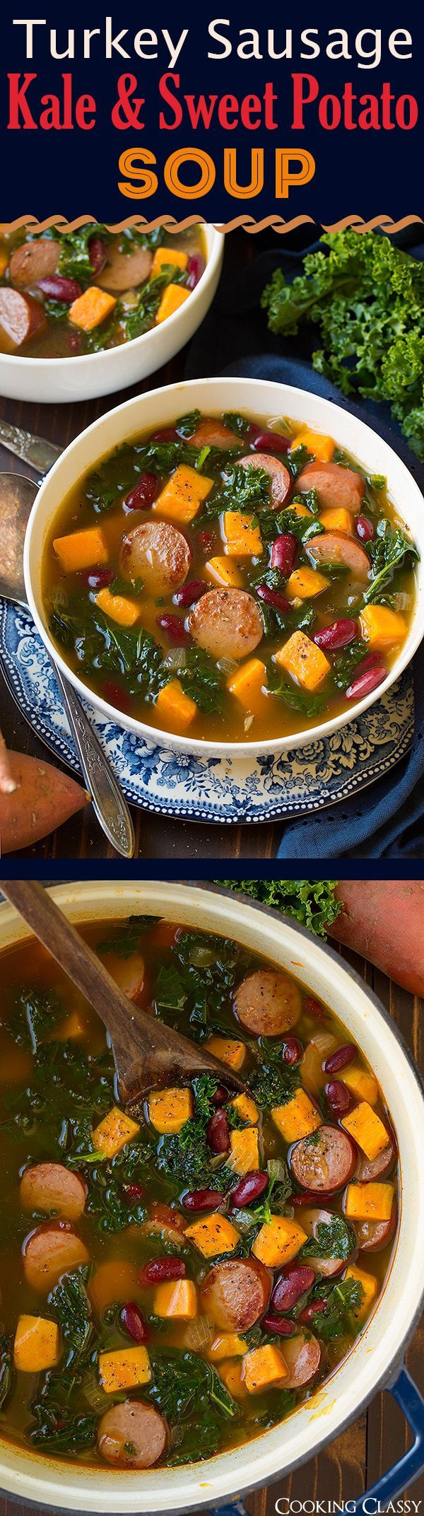 Turkey Sausage, Kale and Sweet Potato Soup - Easy and delicious fall soup! Love this combination of flavors! (May sub spinach/spiced turkey sausage then leave out chili powder)