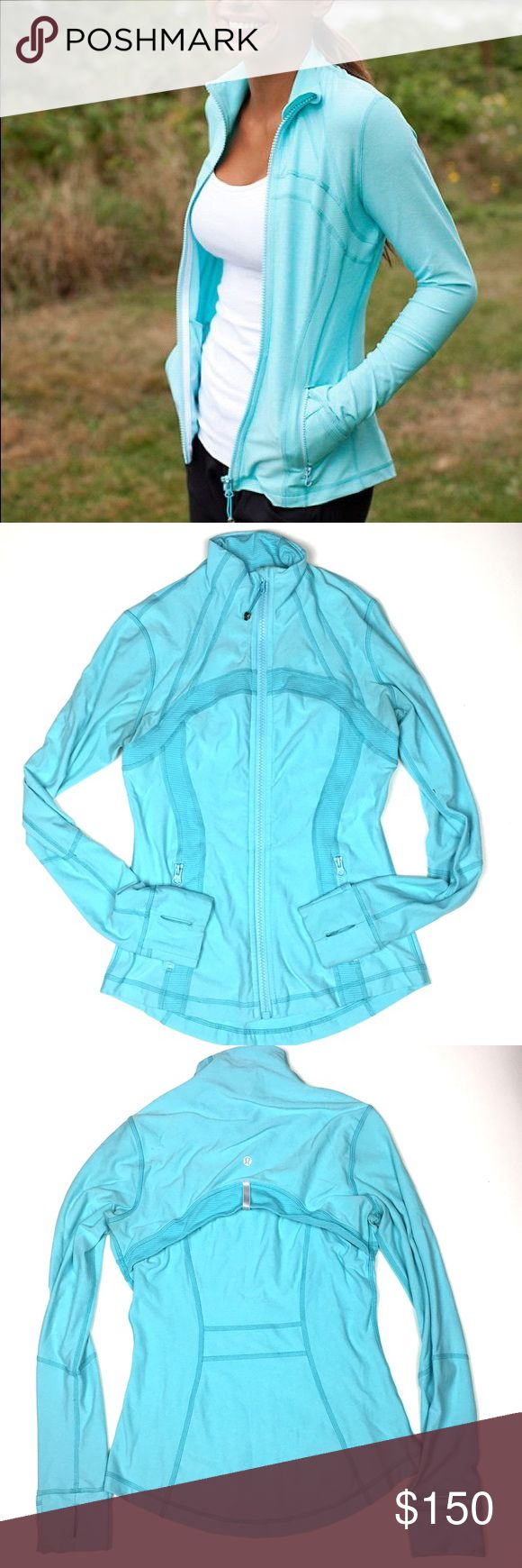 Lululemon Define Jacket in Tiffany Blue color Stunning rare color!! Gorgeous details. Thumb holes. Pockets. Very good condition. lululemon athletica Jackets & Coats