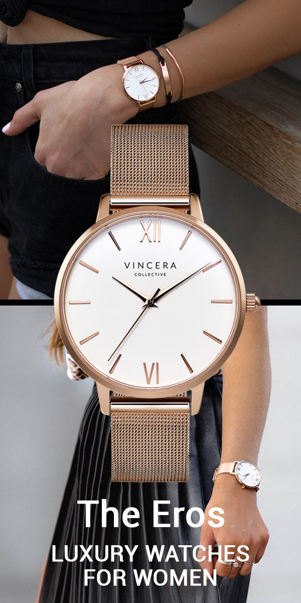 The Eros Rose Gold Mesh with White Face watch from The Vincera Collective. This designer sells pretty, modern womens watches. Find affordable luxury watches under $200 in brown leather, rose gold, silver, light pink and white minimalist and modern watch s