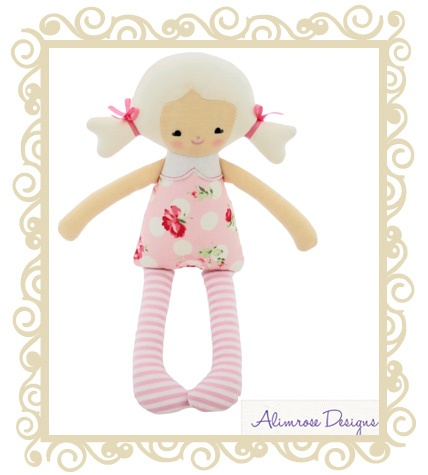 $26.95 - Martha Doll Rose - Sweet Martha doll rattle in pretty rose print with piggy tails in her hair.