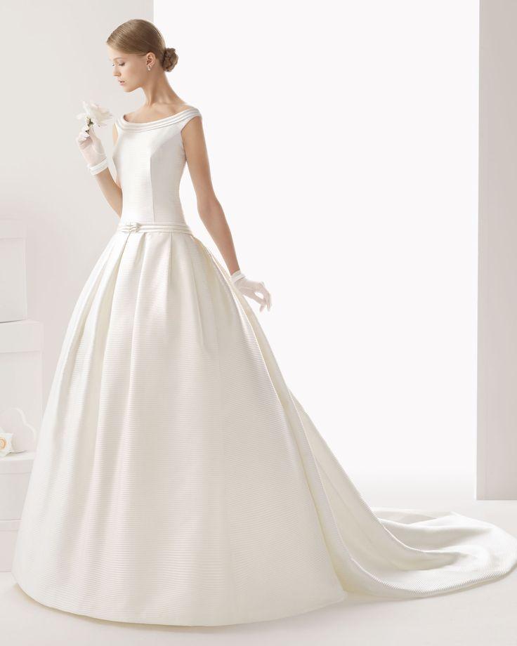 245 CASANDRA | Wedding Dresses | 2014 Rosa Clara Collection | Rosa Clara (Shown with Bow Belt at lower waist)
