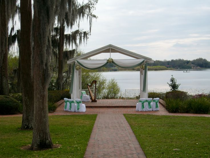 Wedding Ceremony At Cypress Grove Estate House In Orlando Florida Lakeside Gazebo Perfect For Destination Weddings Green Floral Design By Flowers