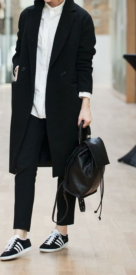 Minimal + Classic: Adidas with black and white ensemble