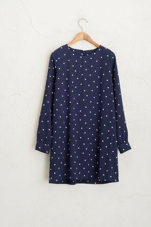Dotty Print Tunic Dress, Navy