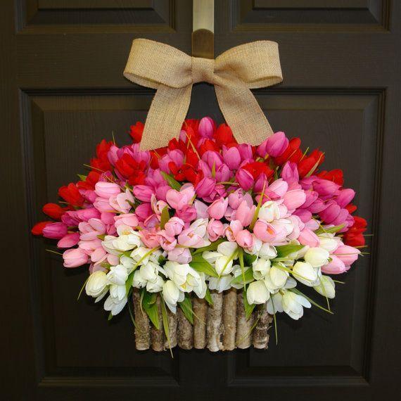 spring wreath, Valentine wreaths, Easter wreaths, birch bark vases, front door wreath decorations,red pink tulips spring wreath on Etsy, $95.00