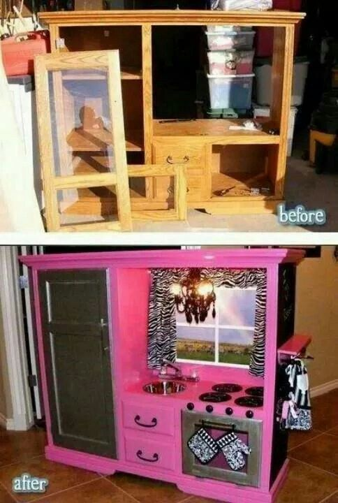 Diy play kitchen cute for a little girl diy pinterest for Girls play kitchen
