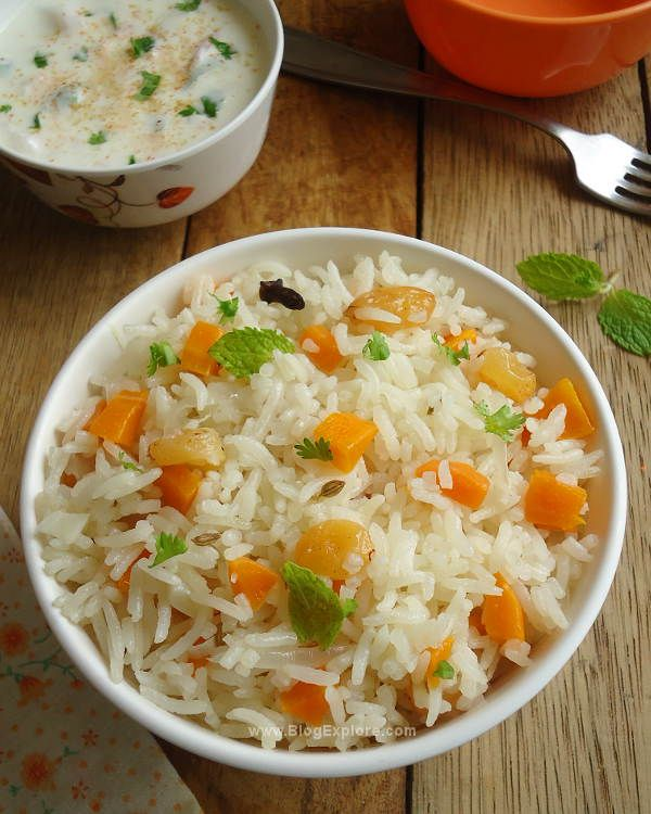 Carrot Pulao - a quick lightly spiced carrot pulao. It is easy to make, healthy and a delicious one pot meal. #vegan #glutenfree