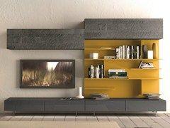 Parete attrezzata componibile fissata a muro con porta tv #291 - Presotto Industrie Mobili