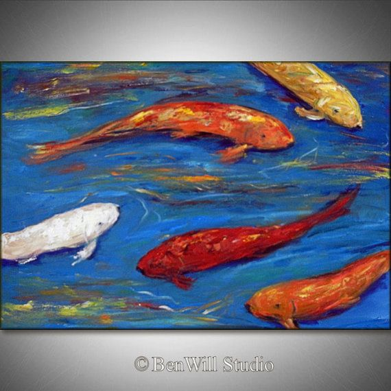 30 best art for the house images on pinterest for Blue and orange koi fish