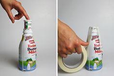 Betonvase Flasche Kerzenständer mit Buttermilchflasche und Brausetablettendose. DIY Anleitung | hallopiepmatz