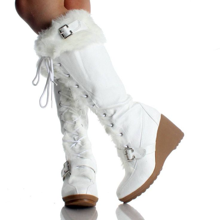 Bridal Shoes Dsw: White Suede Fur Winter Lace Up Wedge High Heel Womens Mid