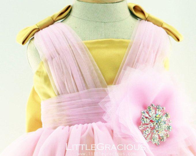 Glitz infantile Pageant robe, robe d'anniversaire pour les filles, robe de bébé, Pâques robe LG003