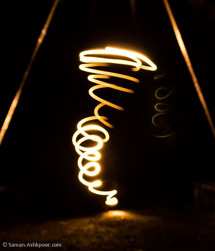 Light painting photography tornado drawn by hand