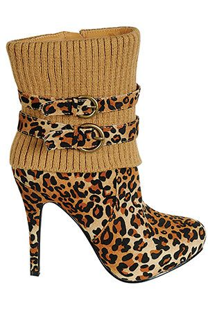 High Heel Booties In Leopard | @ leopard, strips and prints/ Dorothy Johnson