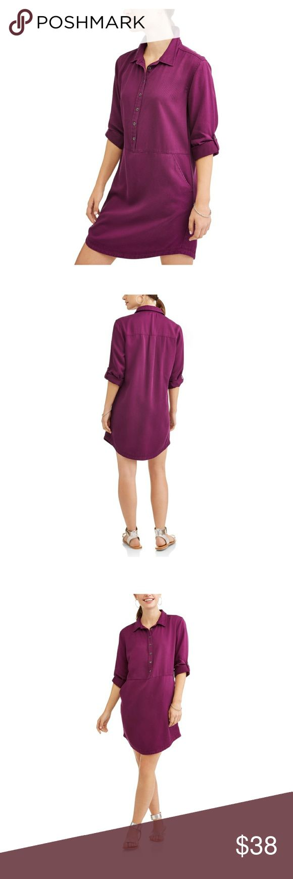 Women's Purple Lyocell Shirt Dress NWT Get ready for spring and summer in this versatile Lyocell Shirt Dress with pockets! Button down front with sleeves that can be folded and buttoned above the elbow. This is an excellent combination of chic and comfortable! Lyocell is a soft silky fabric, that is highly resistant to wrinkling making the dress easy to wear and comfy. This listing is for a purple one. I have listings for black, moss & red. One each Small= 4-6; Medium=8-10; L=12-14. Dresses…