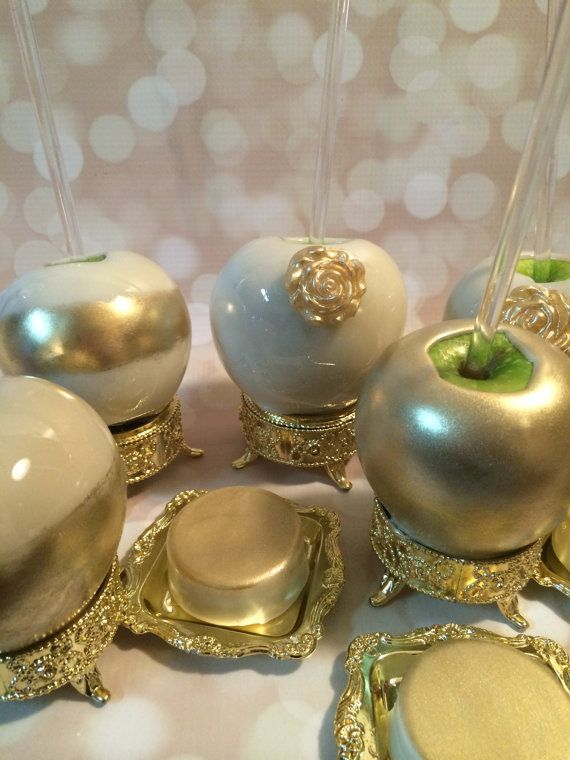 Candy apples adorned with Gold or Silver. by KLDesserts on Etsy, $5.00 Elegant gold and white candy apples with acrylic sticks.