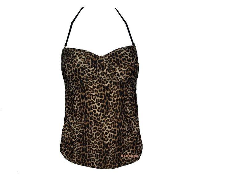 Anne Cole Swimwear Women's New $62 Twist-Front Ruched Tankini Leopard Print (M) #AnneCole #TankiniTop