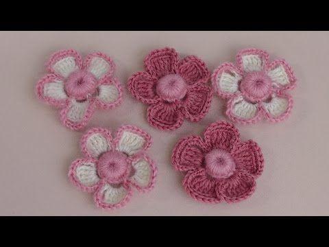 ▶ Вязание маленького цветка с объёмной серединкой-ягодкой. Урок вязания крючком. - YouTube