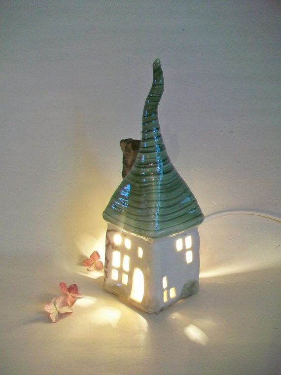 Fairy House/ Night Light  All Squared Up    by SuzannesPotteryFarm, $46.00
