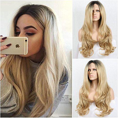 Natuurlijke look blond body wave synthetische kant met donkere wortels hoge kwaliteit zwart/blond ombre hittebestendige fiber haar