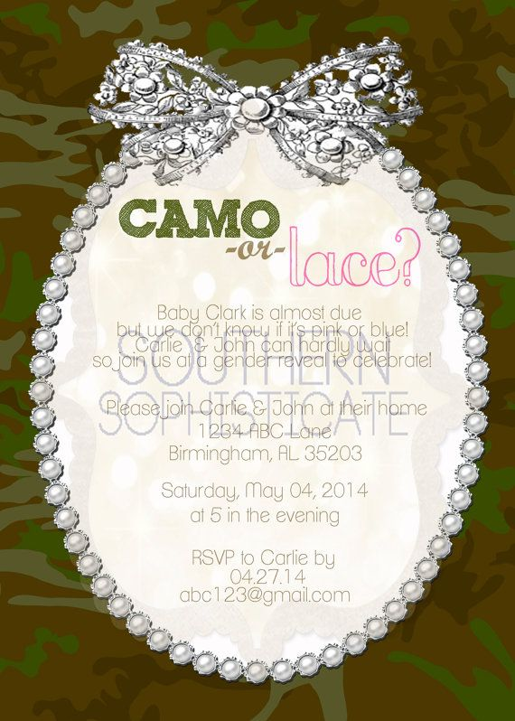Camo or Lace Gender Reveal Invitation on Etsy, $10.00