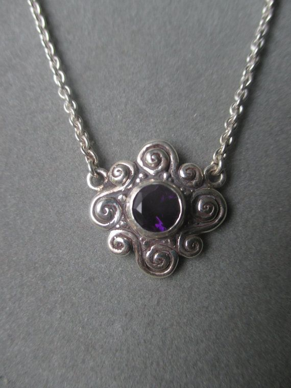 201 best gemstone pendants 2 images on pinterest jewel jewelery sterling silver amethyst swirl flower pendant february birthstone pdt24ssa mozeypictures Gallery