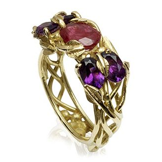 Savannah Ring by Sophie Harley London.  Stunning 18ct gold dress ring with faceted oval ruby & amethysts & intertwining leaf settings.