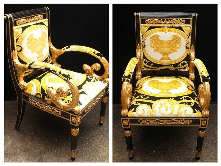 Last Pair Luxury Custom Vanitas Armchair Covered In Versace Gold Double Lion Petit-Petitot Fabric @ Great Deal!