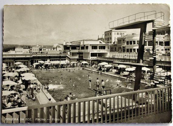 1958 Vintage Portuguese Postcard Pool Beach Figueira da by AsCol