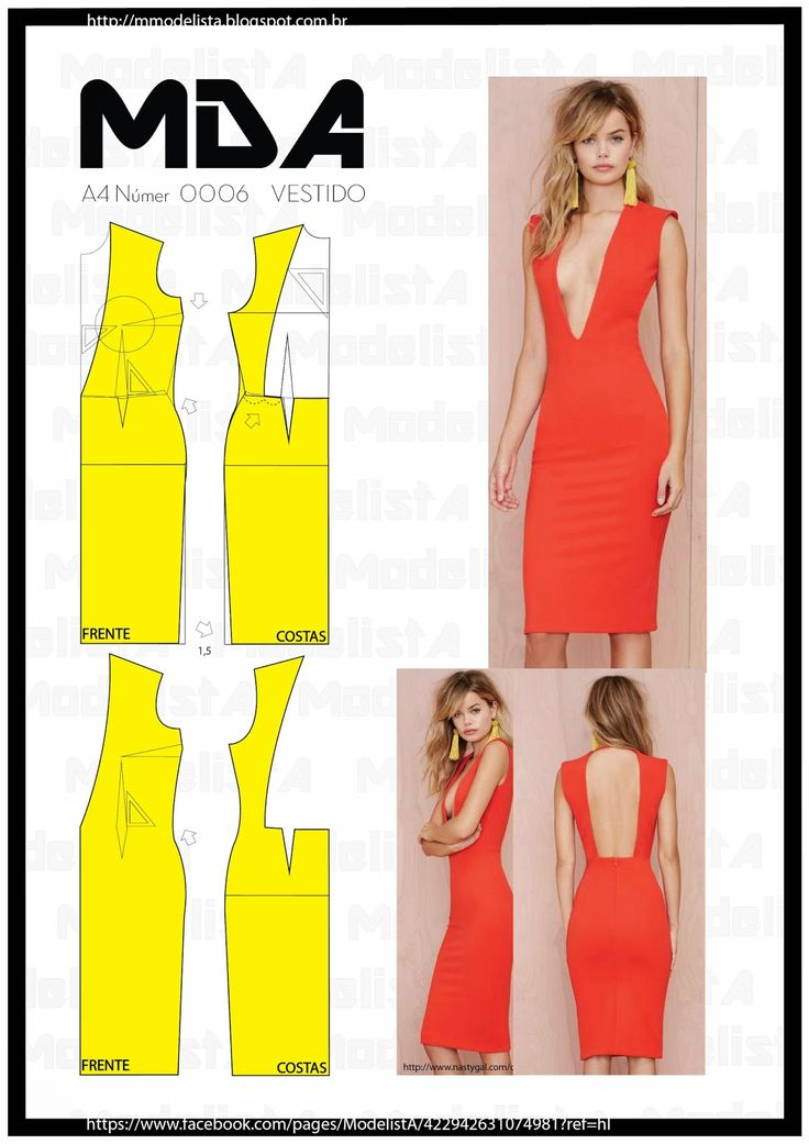 ModelistA: A4 - NÚM 0006 VESTIDO Deep V bodycon dress with Open Back