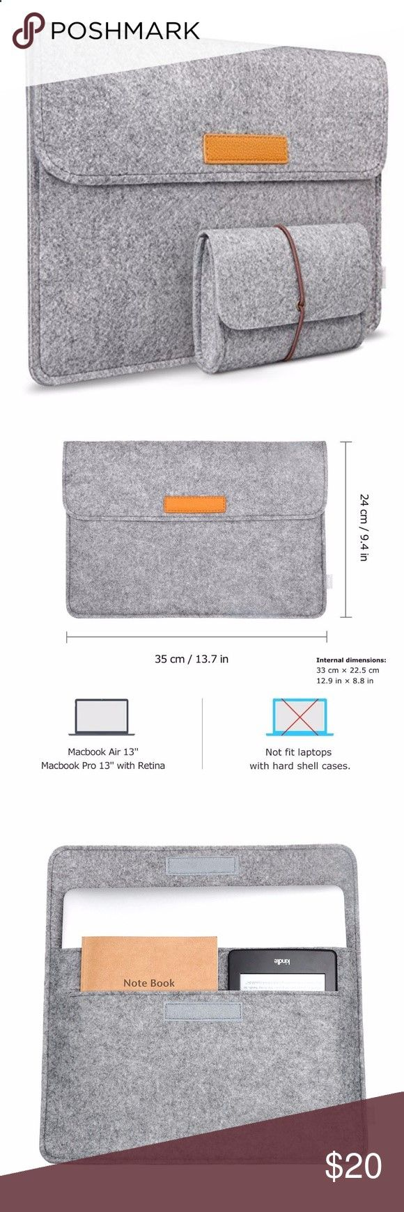 Ultrabook Laptops - 13-13.3 Inch MacBook Air Cover Protector Case Internal dimensions: 12.9 x 8.8 External dimensions: 13.7 x 9.4. Fit for 12.9 Inch Apple iPad Pro 2015 Model, 13.3 Inch MacBook Pro Retina(A1425/A1437/A1502), MacBook Air 13.3(A1369/A1406/A1466/A1496/A1181), Dell XPS 13 and most 11-Inch Ultrabook Laptop One main compartment for laptop and second compartment for magazines, books, tablet, etc.; Two back pockets lined with flannel for cellphone, earphones, wallet, etc. Addi...