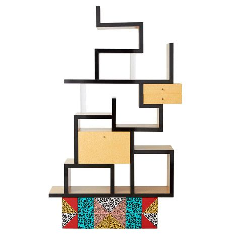 Ettore Sotts Carlton Bookcase Was The Defining Product Of Memphis Group Typified By Bright Coloured Laminates And Playful Forms