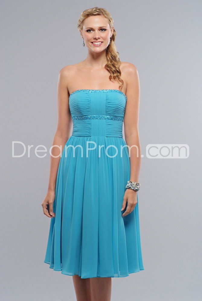 Attractive Beading Pleats Empire Waist Strapless Knee-length Bridesmaid Dresses This dress, this color, with short denim jackets on top with brown boots!