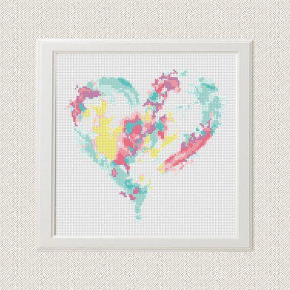 Heart Cross Stitch Pattern Free Shipping Watercolour Cross