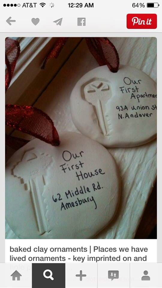 Great idea -- baked clay ornaments with key imprints from your first house. With how often I move, my tree would be full of these!