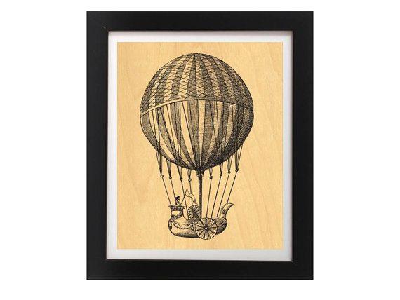 Vintage Hot Air Balloon Modern Rustic Art by TheWoodPaperShoppe