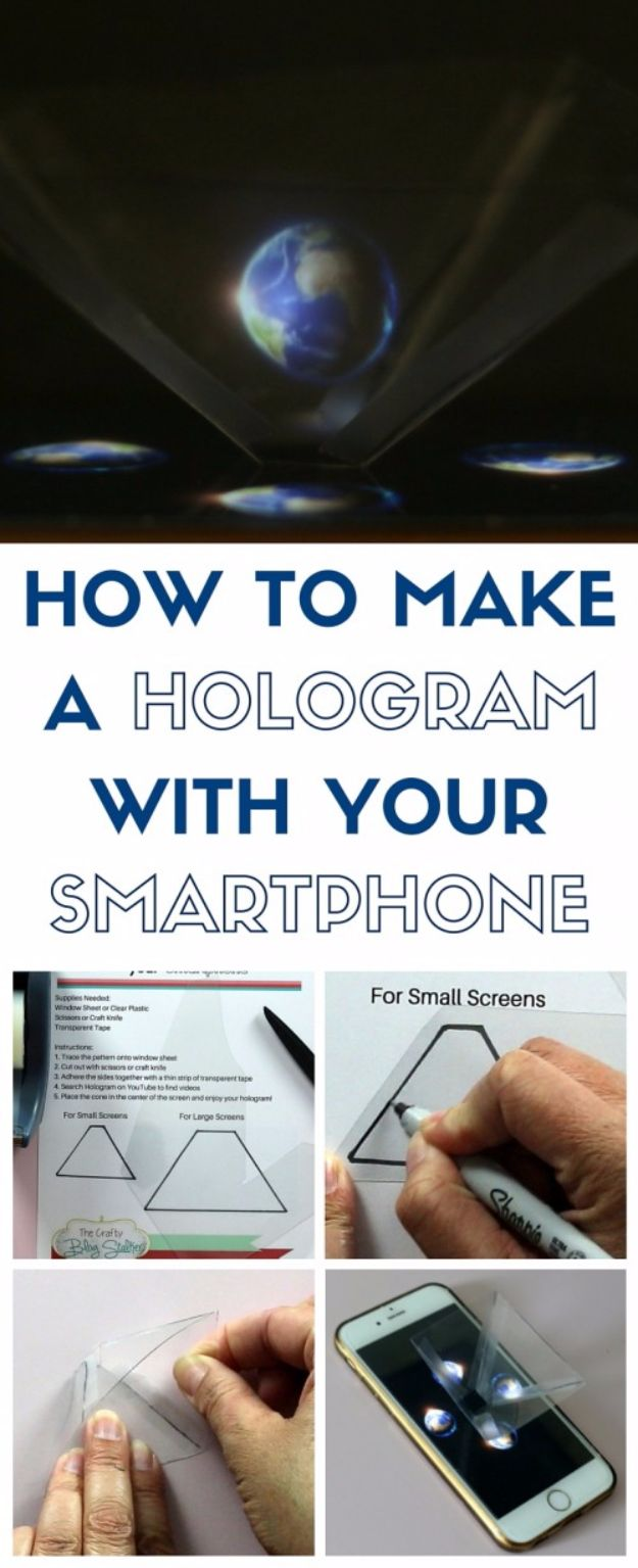 DIY Phone Hacks - DIY Hologram Phone Projector - Cool Tips and Tricks for Phones, Headphones and iPhone How To - Make Speakers, Change Settings, Know Secrets You Can Do With Your Phone By Learning This Cool Stuff - DIY Projects and Crafts for Men and Women http://diyjoy.com/diy-iphone-hacks