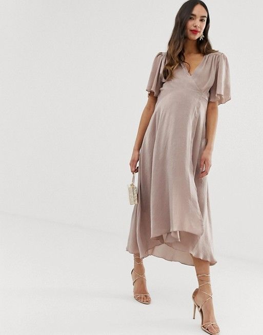 aeb6bc5af8 Blume Maternity wrap front satin midaxi dress in blush in 2019 ...