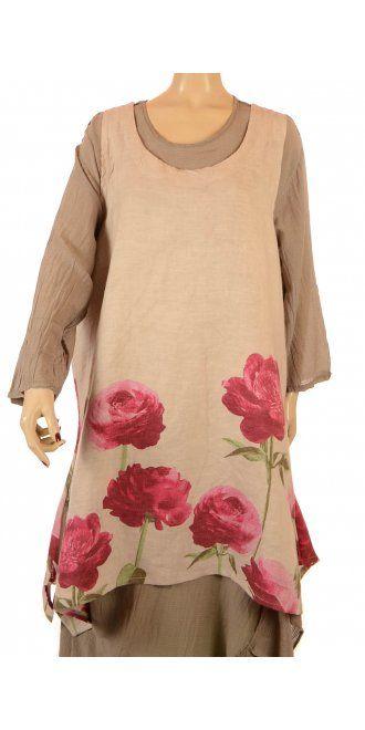 Sarah Santos Peony Print Natural Linen Tunic