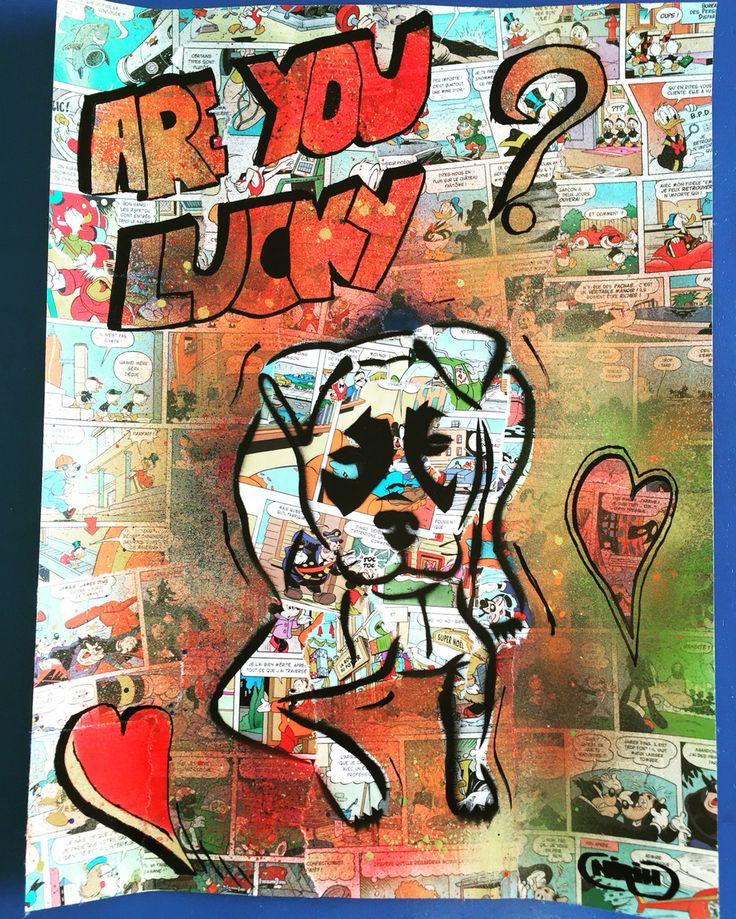 """Lucky"" by #NiriN #nirin #dog #lineart #line #pen #ink #noiretblanc #blackandwhite #encre #streetart #urbanart #graffiti #graff #streetarteverywhere #streetphoto #streetartandgraffiti #graffart #instagraff #streetartmontreuil #montreuilgraffiti #paris #bombing #spray #spraycan #stencil"