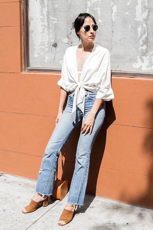 flared cropped jeans, tan mules, white bow shirt