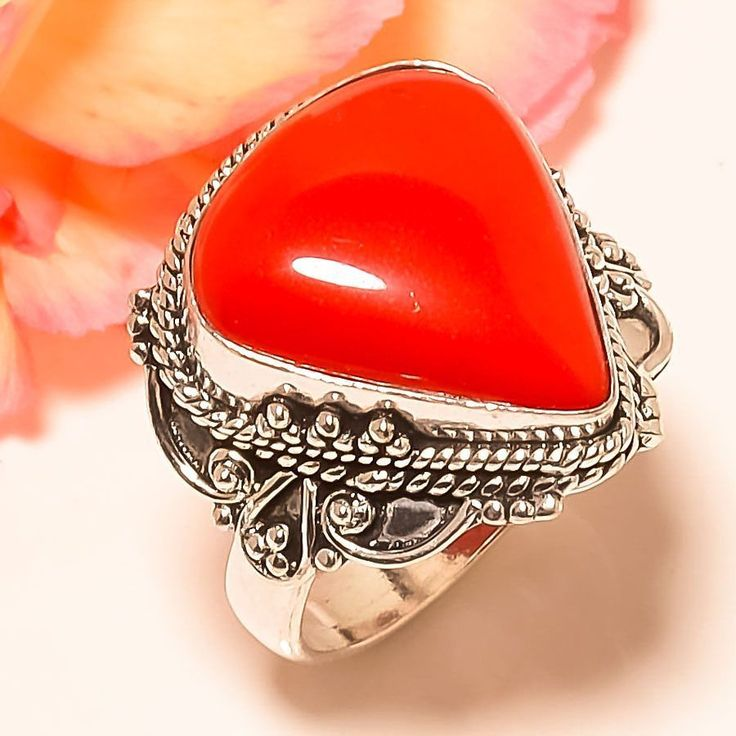 Italian Coral Vintage Style 925 Sterling Silver Jewelry Ring 8.5 #Handmade #Statement