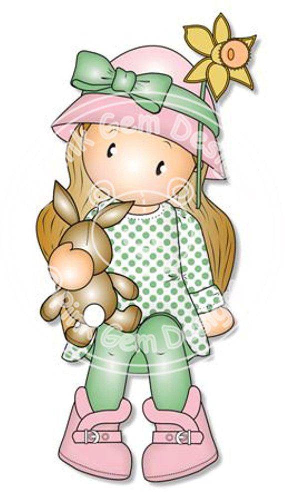 Digital Digi Stamp Chloe con conejo - cumpleaños de las niñas, primavera, Pascua tarjetas, partido Invitatations etc.