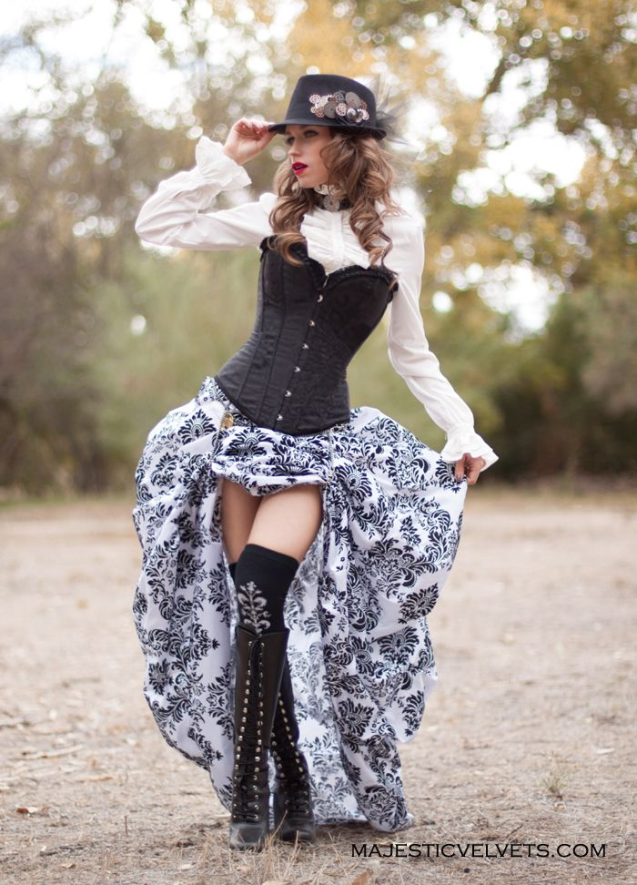 Victorian Steampunk Black Corset With White