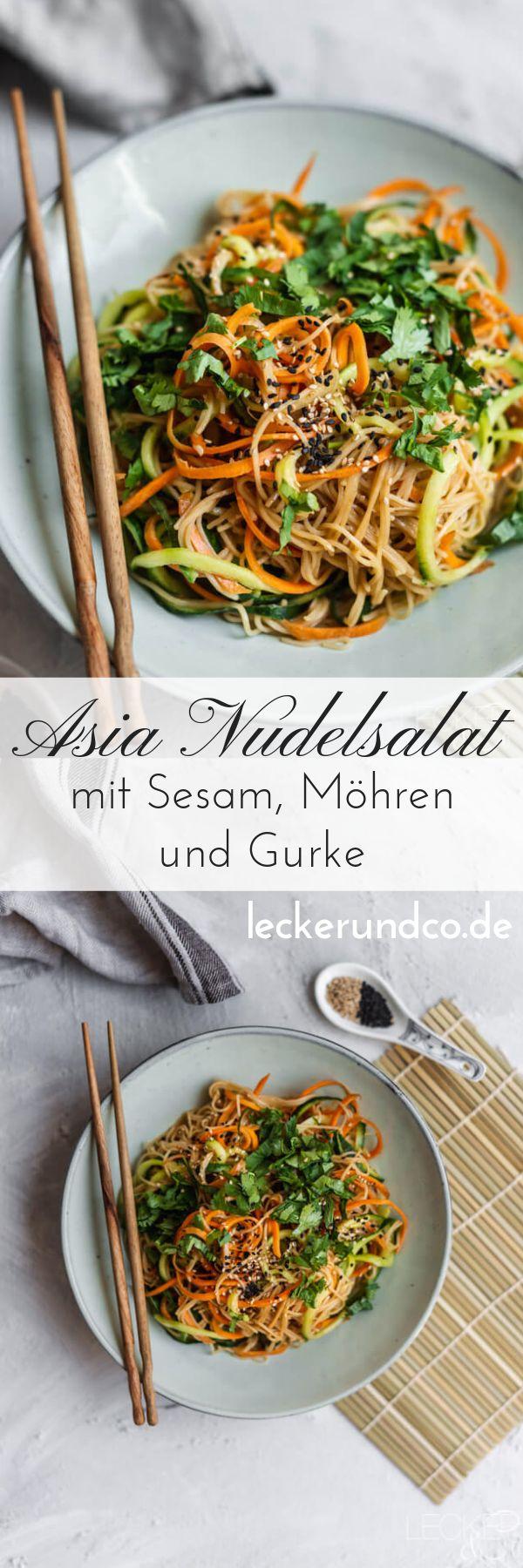 Asia Nudelsalat mit Sesam, Karotte und Gurke