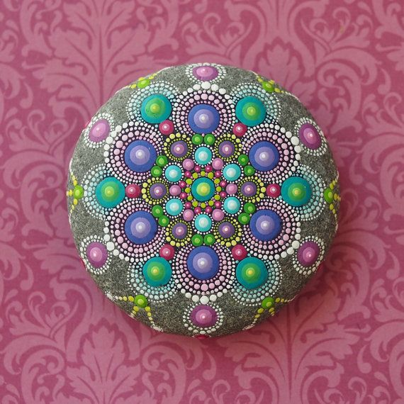 Jewel Drop Mandala Painted Stone hand painted by by ElspethMcLean