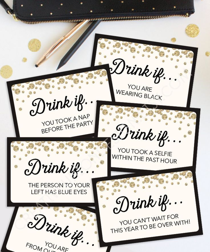 Not quite for kids... Drink If Game - New Years Eve Ideas - Printable New Year's Eve Game by CreativeUnionDesign.com