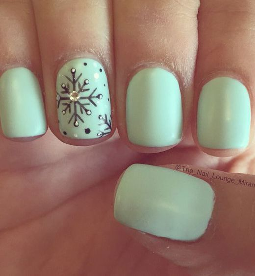 17 Fashionable Mint Nail Designs for Summer: #6. Mint Nail with Flake Ornament