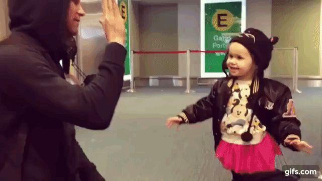Beau Bokan saying bye to his daughter Rocket.