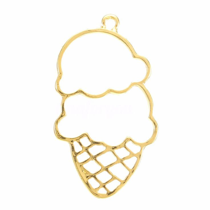 Key Open Bezel Ice Cream Pendant Gold Zinc Alloy For Jewelry Making Crafts New #Unbranded